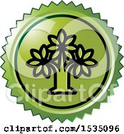 Clipart Of A Green Icon With A Tree Royalty Free Vector Illustration