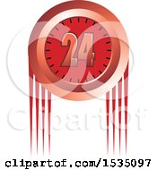 Clipart Of A Red 24 Hour Clock Design Royalty Free Vector Illustration