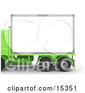 Green Diesel Big Rig Truck With A Blank White Billboard Ready For An Advertisement