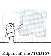 Poster, Art Print Of Stick Man Holding A Marker Up To Draft Paper