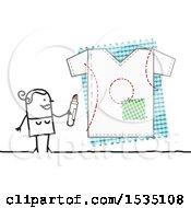 Stick Woman Designing A Shirt