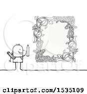 Poster, Art Print Of Stick Man Drawing An Ornate Floral Frame
