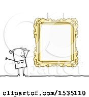 Clipart Of A Stick Woman By A Picture Frame Royalty Free Vector Illustration