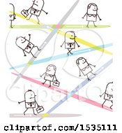 Clipart Of A Stick Business People With Lasers Or Different Paths Royalty Free Vector Illustration