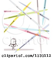 Clipart Of A Stick Business Man With Lasers Or Different Paths Royalty Free Vector Illustration