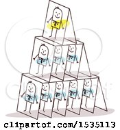 Clipart Of Stick Business Men On A Pyramid Of Cards Royalty Free Vector Illustration