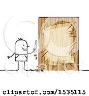 Poster, Art Print Of Stick Man Chiseling Wood