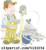 Clipart Of A White Male Worker Standing With A Spade By A Bucket And Pile Of Dirt With A Bird Royalty Free Vector Illustration by Alex Bannykh