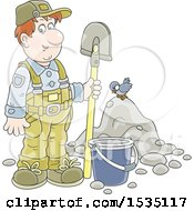Clipart Of A Caucasian Male Worker Standing With A Spade By A Bucket And Pile Of Dirt With A Bird Royalty Free Vector Illustration