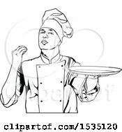 Black And White Male Chef Gesturing Perfect And Holding A Plate
