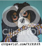 Clipart Of A Painting Of A Dog With A Rope Toy Royalty Free Illustration