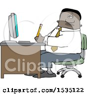Clipart Of A Black Business Man Working At An Office Desk Royalty Free Vector Illustration