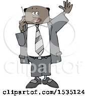 Clipart Of A Black Business Man Waving And Talking On A Cell Phone Royalty Free Vector Illustration