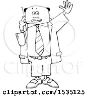 Clipart Of A Lineart Black Business Man Waving And Talking On A Cell Phone Royalty Free Vector Illustration