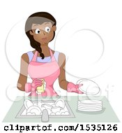 Clipart Of A Happy Woman Wearing An Apron And Gloves While Washing Dishes Royalty Free Vector Illustration