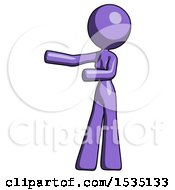 Purple Design Mascot Woman Presenting Something To Her Right