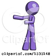 March 16th, 2018: Purple Design Mascot Man Presenting Something To His Right by Leo Blanchette