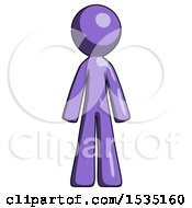 Purple Design Mascot Man Standing Facing Forward by Leo Blanchette
