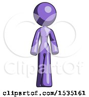 Purple Design Mascot Woman Walking Front View by Leo Blanchette