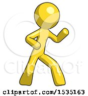 Yellow Design Mascot Man Martial Arts Defense Pose Right