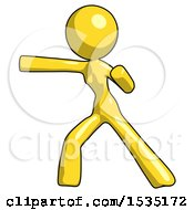Yellow Design Mascot Woman Martial Arts Punch Left