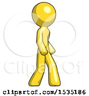 March 16th, 2018: Yellow Design Mascot Man Walking Turned Right Front View by Leo Blanchette