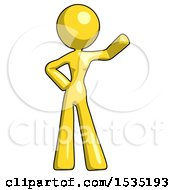 March 16th, 2018: Yellow Design Mascot Woman Waving Left Arm With Hand On Hip by Leo Blanchette