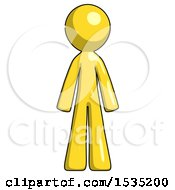 Yellow Design Mascot Man Standing Facing Forward