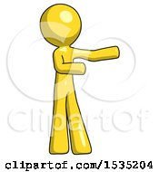 March 16th, 2018: Yellow Design Mascot Man Presenting Something To His Left by Leo Blanchette