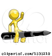 March 16th, 2018: Yellow Design Mascot Woman Riding A Pen Like A Giant Rocket by Leo Blanchette