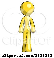 Yellow Design Mascot Woman Walking Front View by Leo Blanchette
