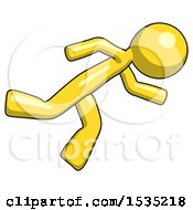 March 16th, 2018: Yellow Design Mascot Man Running While Falling Down by Leo Blanchette