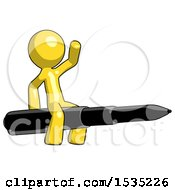 March 16th, 2018: Yellow Design Mascot Man Riding A Pen Like A Giant Rocket by Leo Blanchette
