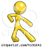 Yellow Design Mascot Woman Karate Defense Pose Right
