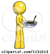 March 16th, 2018: Yellow Design Mascot Man Holding Noodles Offering To Viewer by Leo Blanchette