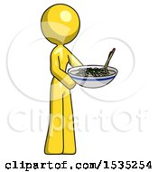 March 16th, 2018: Yellow Design Mascot Woman Holding Noodles Offering To Viewer by Leo Blanchette