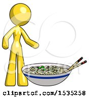 Yellow Design Mascot Woman And Noodle Bowl Giant Soup Restaraunt Concept
