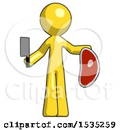 Yellow Design Mascot Man Holding Large Steak With Butcher Knife