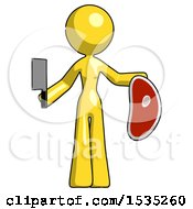 Yellow Design Mascot Woman Holding Large Steak With Butcher Knife