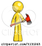 Yellow Design Mascot Man Holding Red Fire Fighters Ax