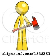 Yellow Design Mascot Woman Holding Red Fire Fighters Ax