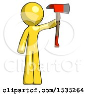 Yellow Design Mascot Man Holding Up Red Firefighters Ax
