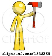 Yellow Design Mascot Woman Holding Up Red Firefighters Ax