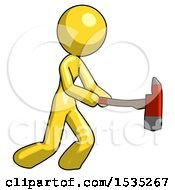 March 16th, 2018: Yellow Design Mascot Woman With Ax Hitting Striking Or Chopping by Leo Blanchette