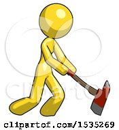 March 16th, 2018: Yellow Design Mascot Woman Striking With A Red Firefighters Ax by Leo Blanchette