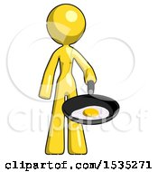 March 16th, 2018: Yellow Design Mascot Woman Frying Egg In Pan Or Wok by Leo Blanchette