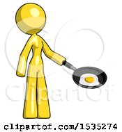 Yellow Design Mascot Woman Frying Egg In Pan Or Wok Facing Right