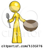 Yellow Design Mascot Woman With Empty Bowl And Spoon Ready To Make Something