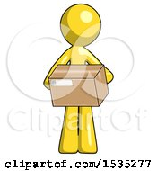 Yellow Design Mascot Man Holding Box Sent Or Arriving In Mail