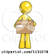 Yellow Design Mascot Woman Holding Box Sent Or Arriving In Mail